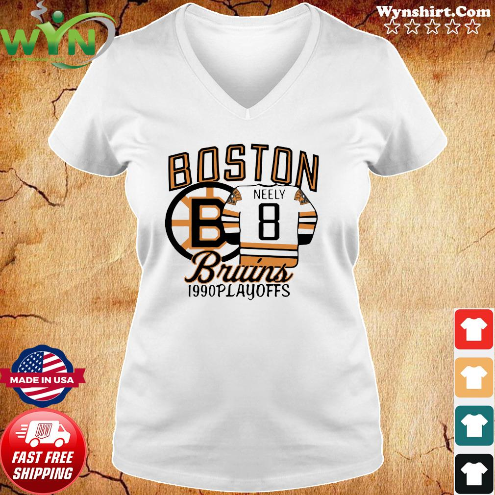 The Bruins 1990 Playoffs Boston 8 Neely Shirt Ladies tee