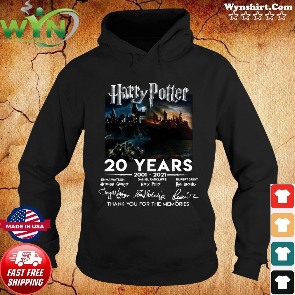 Funny Harry Potter Movie 20 Years 2001 2021 Signatures Thanks For The Memories Shirt Hoodie