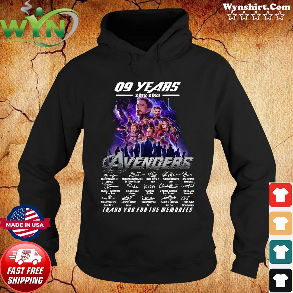 Official Marvel Avengers 09 Years 2012 2021 Signatures Thanks For The Memories Shirt Hoodie