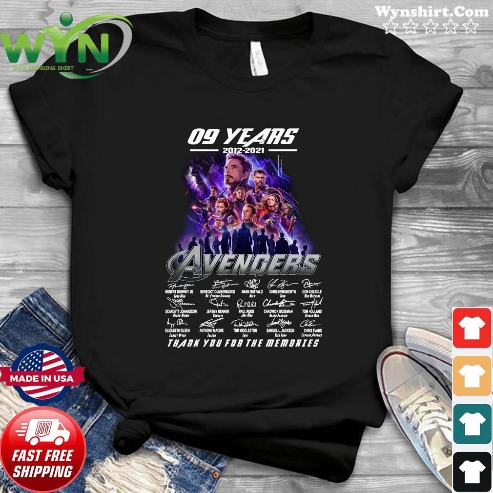Official Marvel Avengers 09 Years 2012 2021 Signatures Thanks For The Memories Shirt