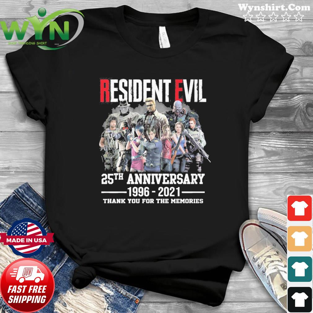 Official The Resident Evil Movie 25th Anniversary 1996 2021 Thanks For The Memories Shirt