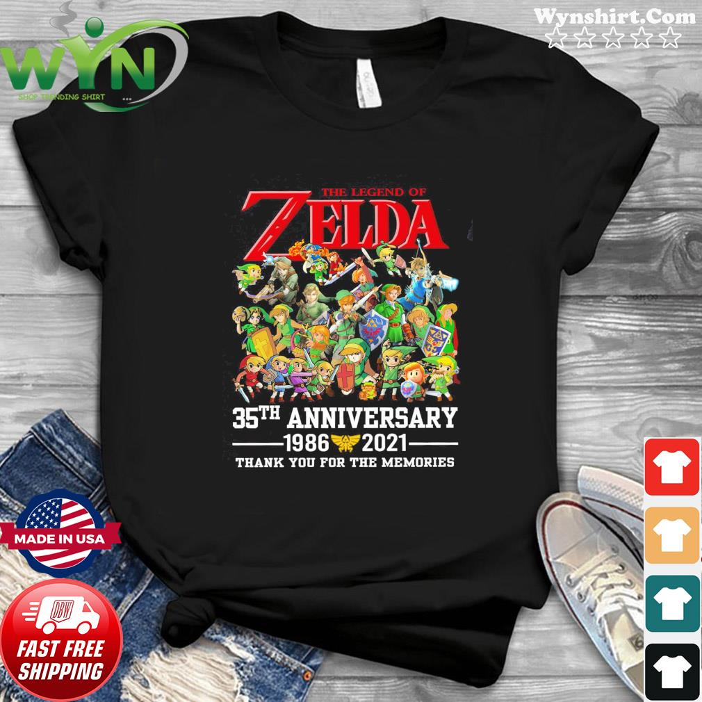 The Legend Of Zelda 35th Anniversary 1986 2021 Thanks For The Memories Shirt