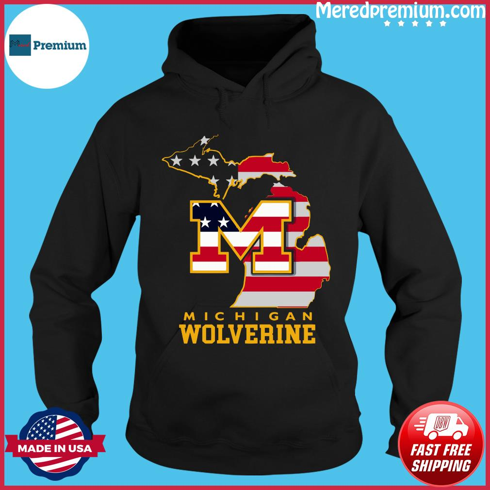 Michigan Wolverine American Map Flag Shirt Hoodie
