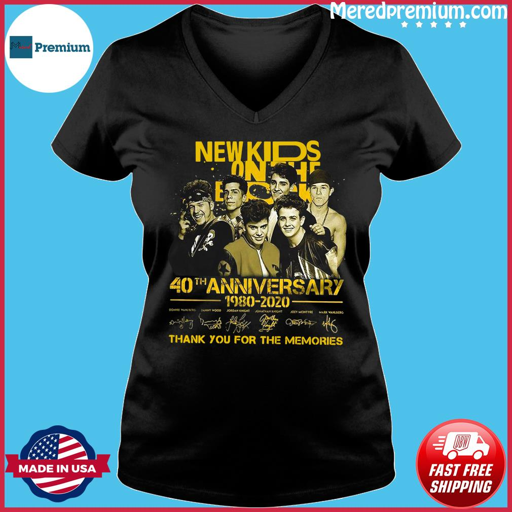 New Kids On The Dead 40th Anniversary 1980 2020 Thank You For The Memories Signatures Shirt Ladies V-neck