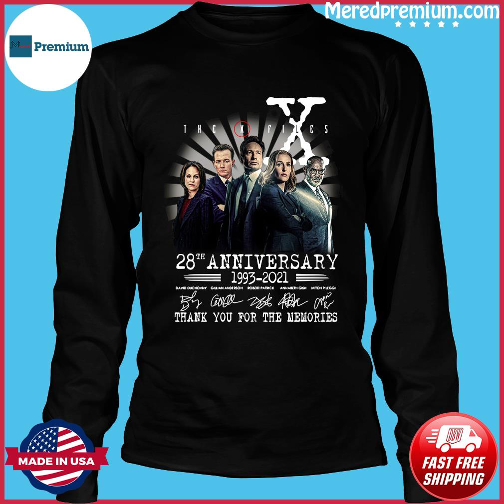 The X Files 28th Anniversary 1993 2021 Thank You For The Memories Signatures Shirt Long Sleeve