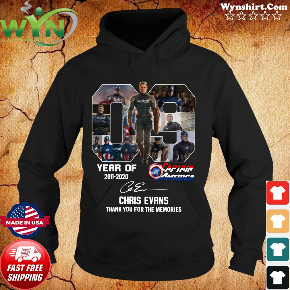 09 Years Of Captain America 2011 2020 Chris Evans Thank You For The Memories Signature Shirt Hoodie