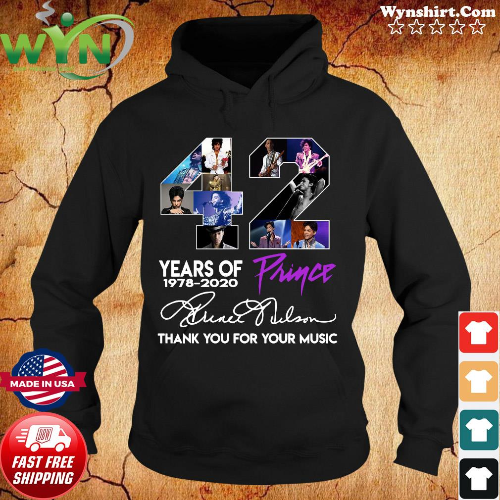 42 Years Of Prince 1978 2020 Thank You For Your Music Signature Shirt Hoodie