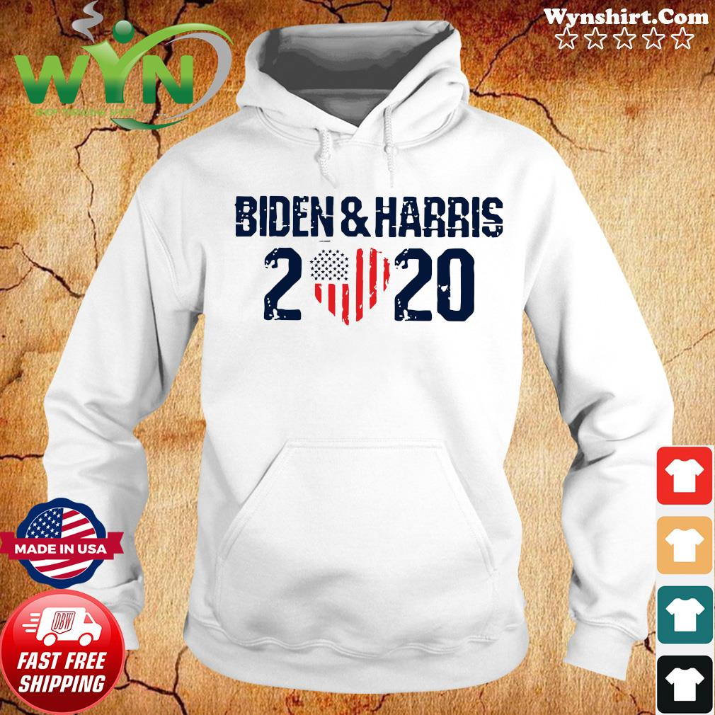 Biden And Harris 2020 Heart American Flag Shirt Hoodie