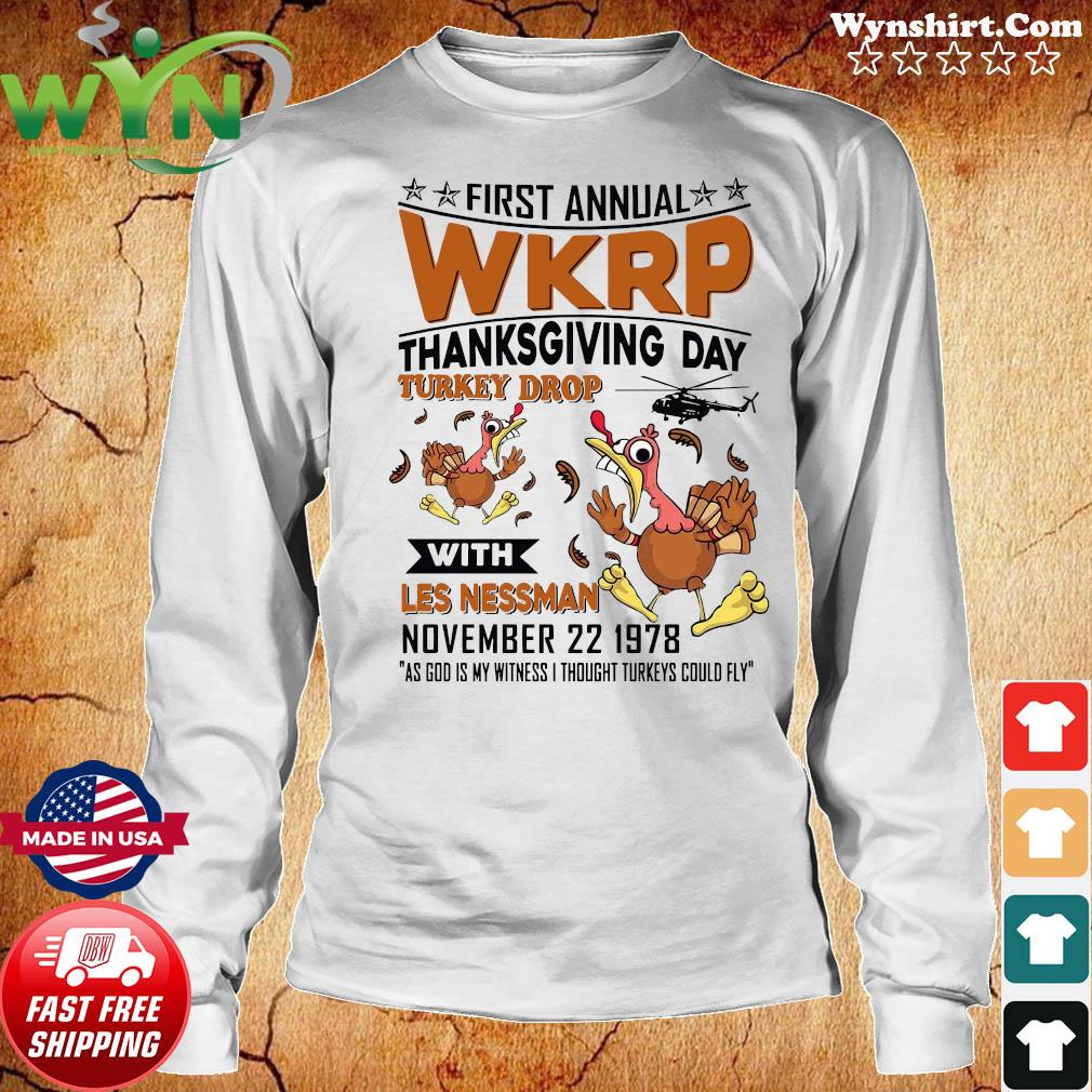 First Annual Wkrp Thanksgiving Day Turkey Drop With Les Nessman November 22 19978 Shirt Long Sweater