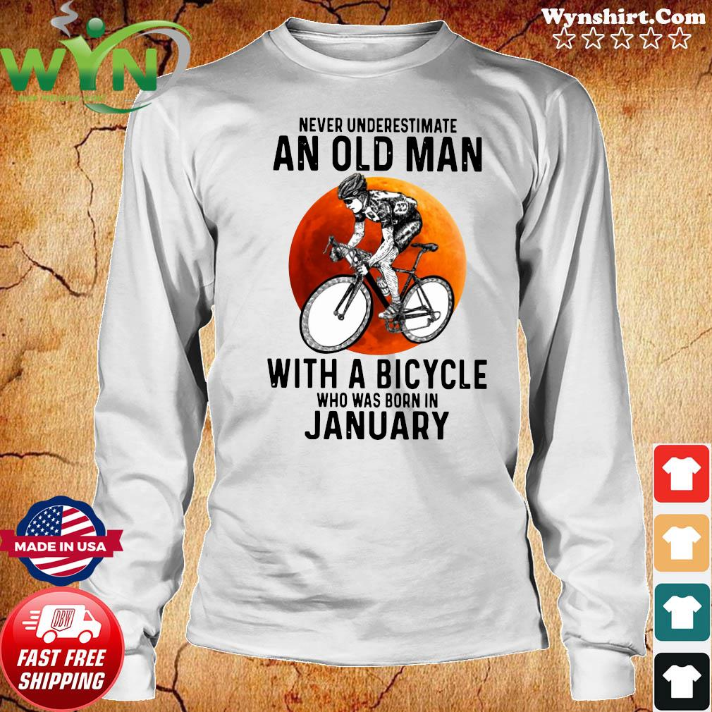 Never Underestimate An Old Man With A Bicycle Who Was Born In January Moon Shirt Long Sweater