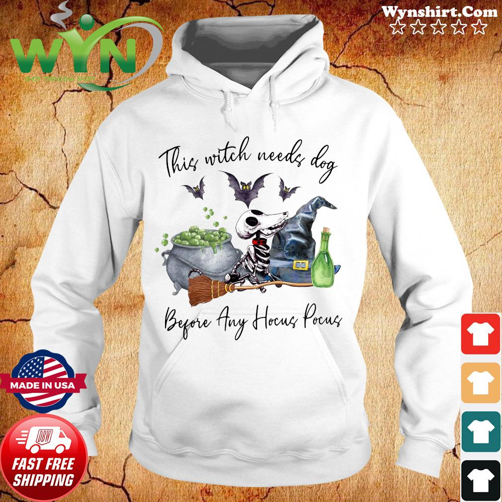 Skeleton This Witch Needs Dog Before Any Hocus Pocus Shirt Hoodie