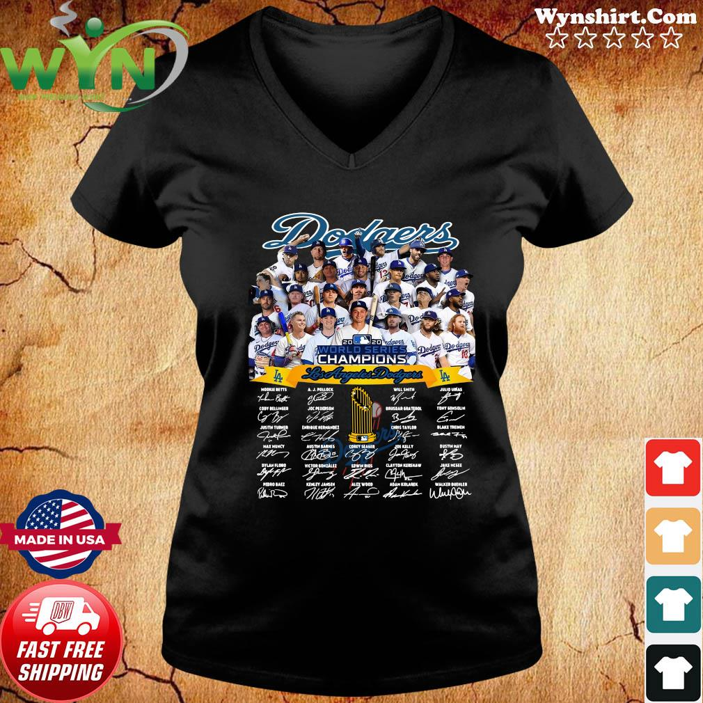Los Angeles Dodgers 2020 World Series Champions Signatures Shirt ladies tee
