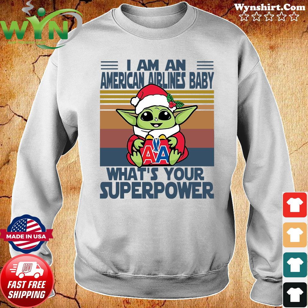 Baby Yoda Santa Hug American Airlines What's Your Superpower Vintage Retro Christmas Sweats Sweater